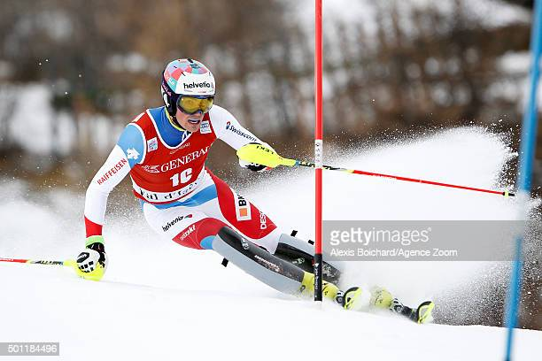 Daniel Yule of Switzerland competes during the Audi FIS Alpine Ski World Cup Men's Slalom on December 13 2015 in Val d'Isere France
