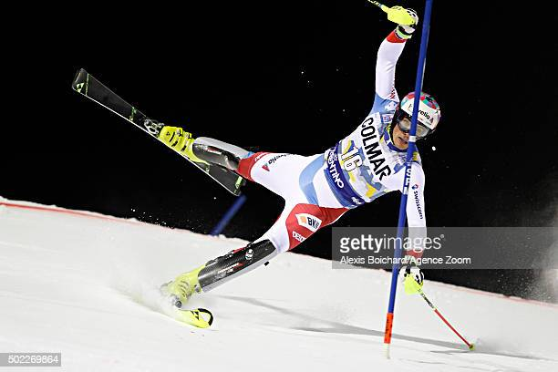 Daniel Yule of Switzerland competes during the Audi FIS Alpine Ski World Cup Men's Slalom on December 22 2015 in Madonna di Campiglio Italy
