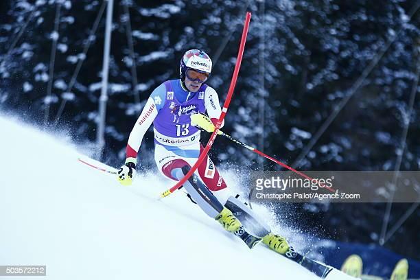 Daniel Yule of Switzerland competes during the Audi FIS Alpine Ski World Cup Men's Slalom on January 06 2016 in Santa Caterina Valfurva Italy