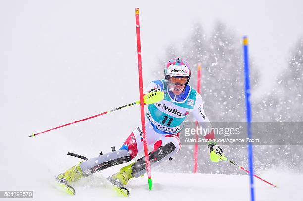 Daniel Yule of Switzerland competes during the Audi FIS Alpine Ski World Cup Men's Slalom on January 10 2016 in Adelboden Switzerland