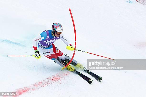 Daniel Yule of Switzerland competes during the Audi FIS Alpine Ski World Cup Men's Slalom on January 17 2016 in Wengen Switzerland
