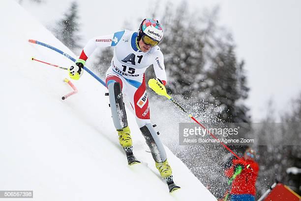 Daniel Yule of Switzerland competes during the Audi FIS Alpine Ski World Cup Men's Slalom on January 24 2016 in Kitzbuehel Austria
