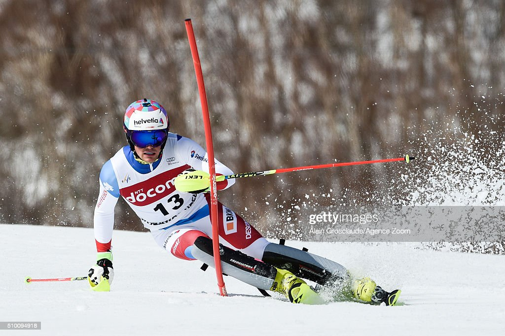 Daniel Yule of Switzerland competes during the Audi FIS Alpine Ski World Cup Men's Slalom on February 14, 2016 in Naeba, Japan.