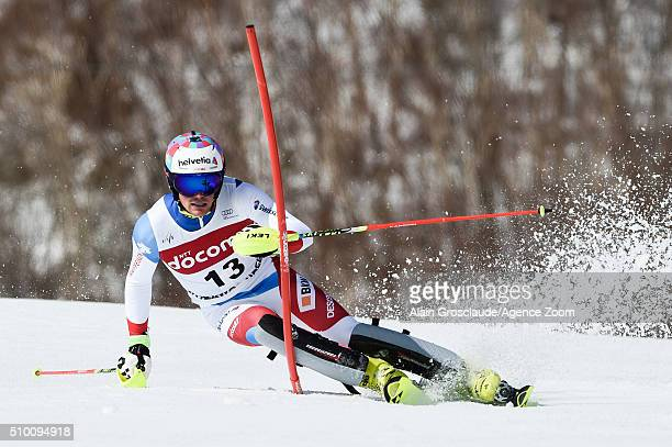 Daniel Yule of Switzerland competes during the Audi FIS Alpine Ski World Cup Men's Slalom on February 14 2016 in Naeba Japan