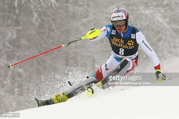 Daniel Yule of Switzerland competes during the Audi FIS Alpine Ski World Cup Men's Slalom on March 06 2016 in Kranjska Gora Slovenia