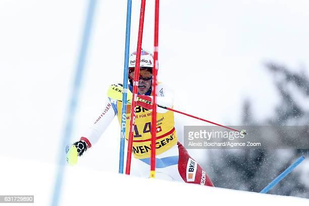 Daniel Yule of Switzerland competes during the Audi FIS Alpine Ski World Cup Men's Slalom on January 15 2017 in Wengen Switzerland