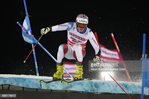 Daniel Yule of Switzerland competes during the Audi FIS Alpine Ski World Cup Men's and Women's Parallel Slalom City Event on January 31 2017 in...