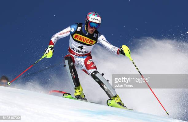 Daniel Yule of Switzerland competes in the Men's Slalom during the FIS Alpine World Ski Championships on February 19 2017 in St Moritz Switzerland