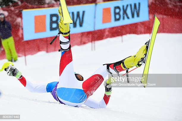 Daniel Yule of Switzerland crashes out during the Audi FIS Alpine Ski World Cup Men's Slalom on January 17 2016 in Wengen Switzerland