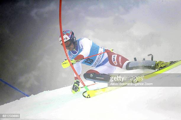 Daniel Yule of Switzerland in action during the Audi FIS Alpine Ski World Cup Men's Slalom on January 08 2017 in Adelboden Switzerland