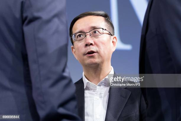 Daniel Zhang CEO of Alibaba group attends a conference during Viva Technology at Parc des Expositions Porte de Versailles on June 16 2017 in Paris...