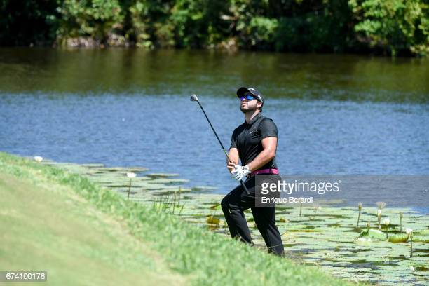 Daniel Zuluaga of Colombia chips onto the seventh green during the final round of the PGA TOUR Latinoamérica Honduras Open presented by Indura Golf...