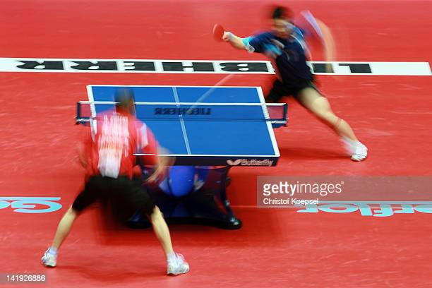 Daniel Zwickl of Hungary defends durings his match against ChihChi Wu of Chinese Taipei during the LIEBHERR table tennis team world cup 2012...