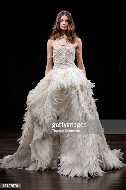 Daniela Aciu walks the runway wearing Naeem Khan Spring 2018 Bridal Collection at Naeem Khan Showroom on April 21 2017 in New York City