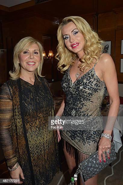 Daniela Bentivoglio and Valeria Marini attend the Penati Al Baretto Restaurant Opening Dinner at the Hotel de Vigny on April 2 2014 in Paris France