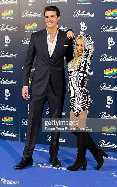 Daniela Blume Uri Sabat attend the 40 Principales Awards 2015 photocall at Barclaycard Center on December 11 2015 in Madrid Spain