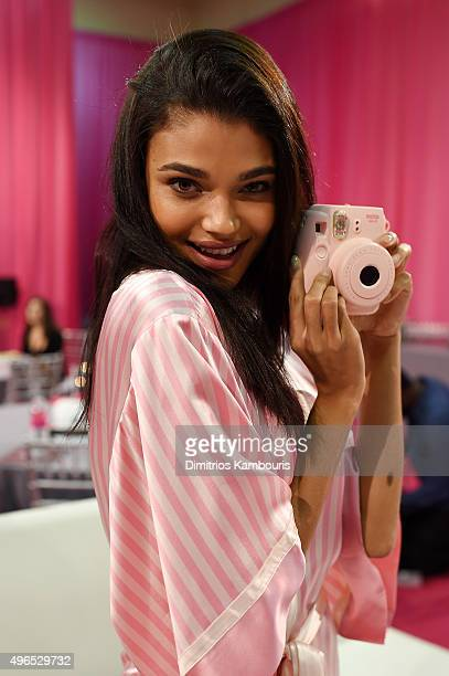 Daniela Braga is seen backstage before the 2015 Victoria's Secret Fashion Show at Lexington Avenue Armory on November 10 2015 in New York City