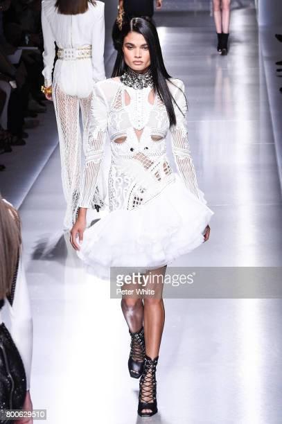 Daniela Braga walks the runway during the Balmain Menswear Spring/Summer 2018 show as part of Paris Fashion Week on June 24 2017 in Paris France