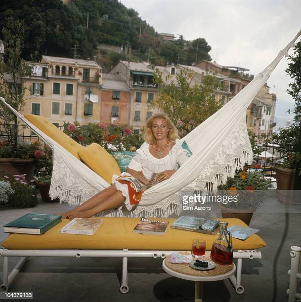 Daniela Cameli formerly actress Daniela Bianchi lounges on the terrace of her apartment in Portofino Italy August 1977