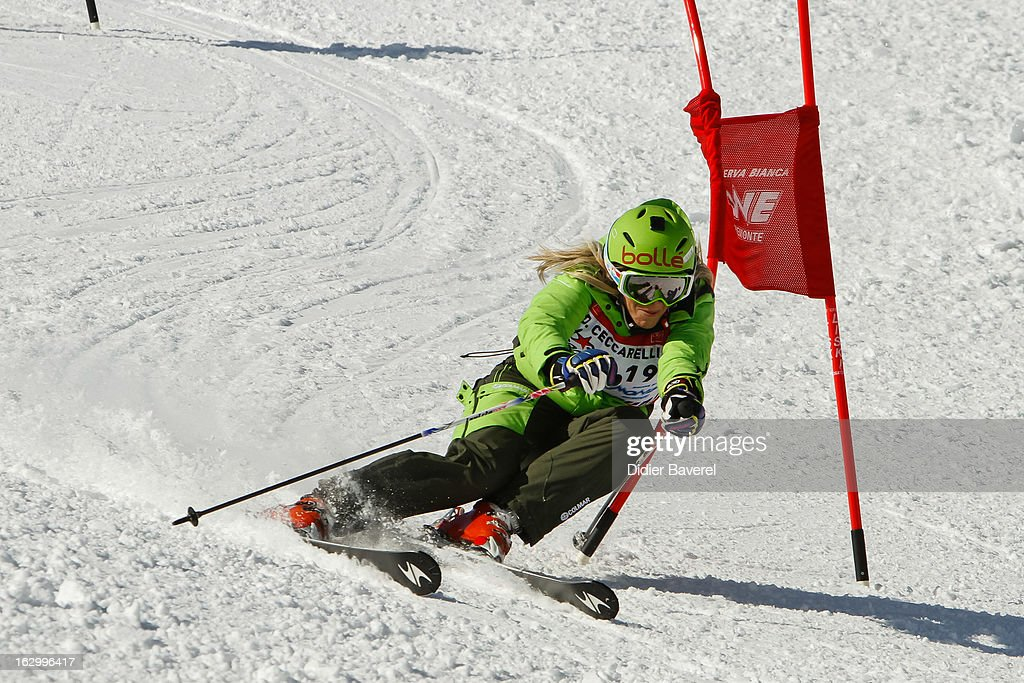 Daniela Ceccarelli Olympic ski Champion races during Charity Ski Race To Collect Donations For 'Star Team For The Children MC' on March 2, 2013 in Limone, Italy.