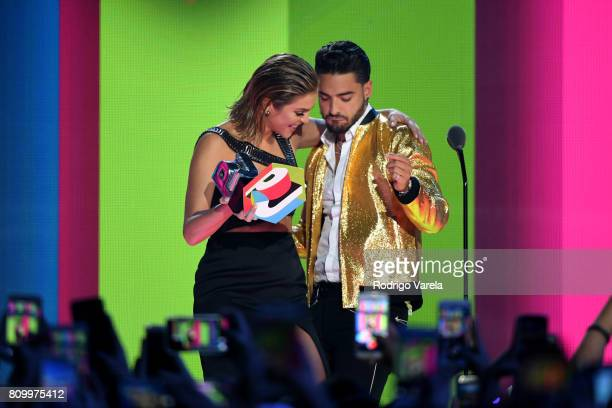 Daniela Di Giacomo and Maluma on stage during Univision's 'Premios Juventud' 2017 Celebrates The Hottest Musical Artists And Young Latinos...