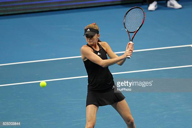 Daniela Hantuchov�� of the Singapore Slammers makes a backhand return to Ana Ivanovic of the Indian Aces during their singles match at the...