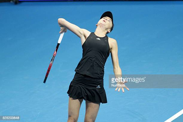 Daniela Hantuchov�� of the Singapore Slammers serves to Ana Ivanovic of the Indian Aces during their singles match at the International Premier...