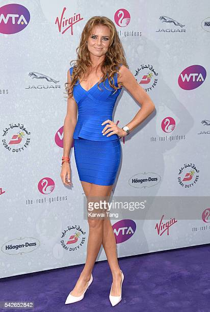 Daniela Hantuchova arrives for the WTA PreWimbledon Party at Kensington Roof Gardens on June 23 2016 in London England