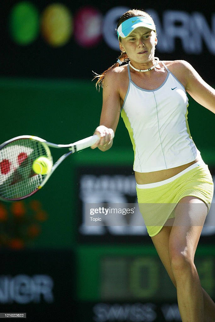 <a gi-track='captionPersonalityLinkClicked' href=/galleries/search?phrase=Daniela+Hantuchova&family=editorial&specificpeople=201969 ng-click='$event.stopPropagation()'>Daniela Hantuchova</a> (SVK) in action against <a gi-track='captionPersonalityLinkClicked' href=/galleries/search?phrase=Elena+Dementieva&family=editorial&specificpeople=202670 ng-click='$event.stopPropagation()'>Elena Dementieva</a> (RUS) during the third round of the Australian Open at Melbourne Park in Melbourne, Australia on January 22, 2005.