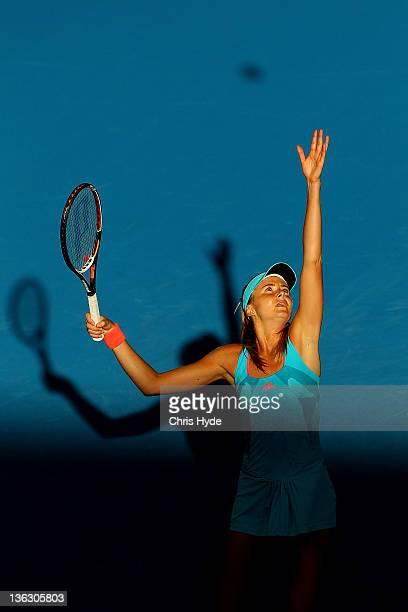 Daniela Hantuchova of Slovak serves during her match against Dominika Cibulkova of Serbia during day one of the 2012 Brisbane International at Pat...