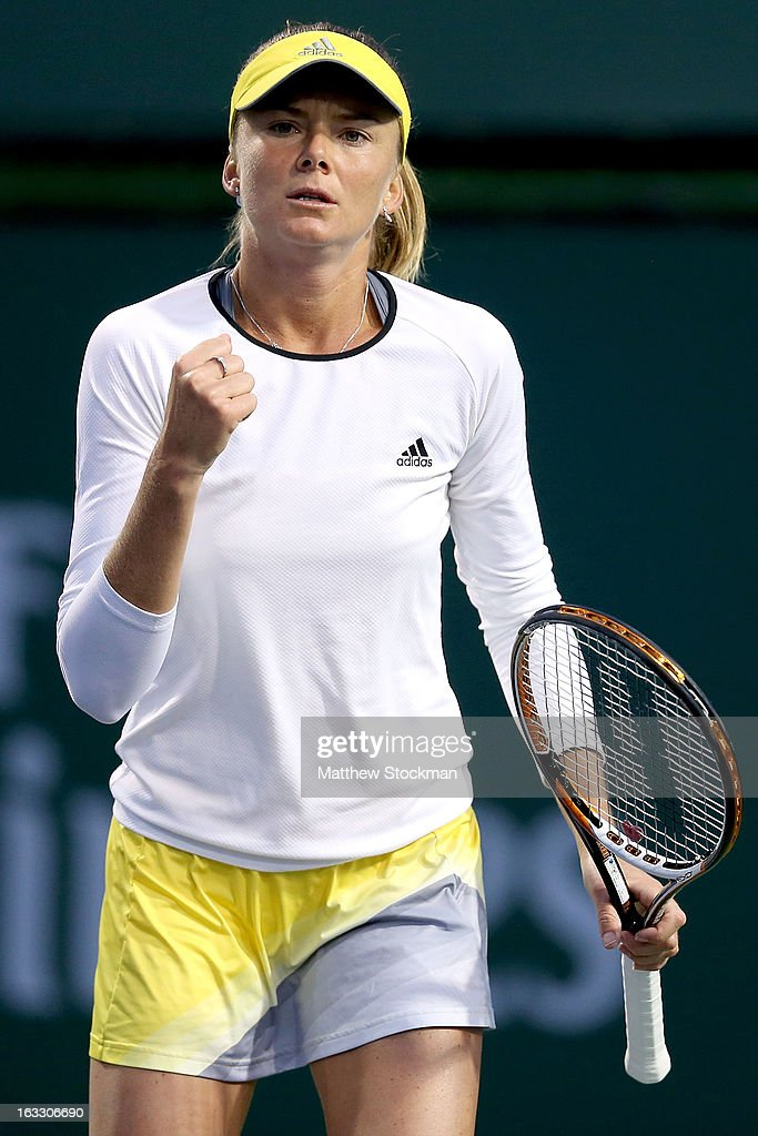 Daniela Hantuchova of Slovakia celebrates breaking Stephanie Foretz Gacon of France in the first set during the BNP Paribas Open at the Indian Wells Tennis Garden on March 7, 2013 in Indian Wells, California.