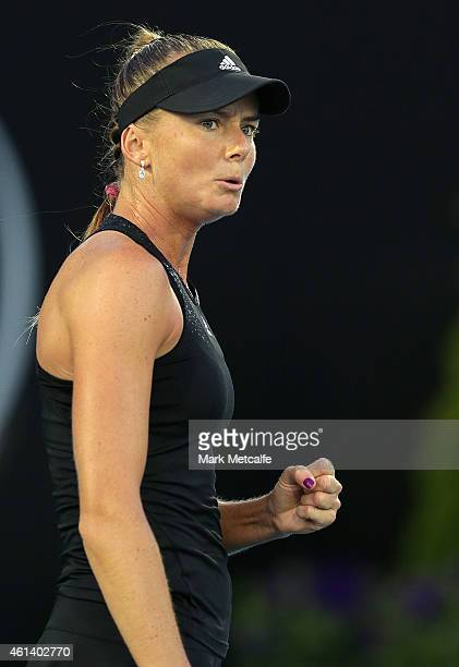 Daniela Hantuchova of Slovakia celebrates winning set point in her first round match against Richel Hogenkamp of Holland during day two of the 2015...