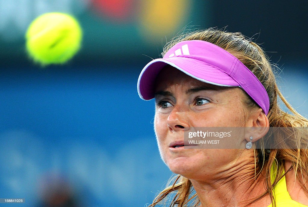 Daniela Hantuchova of Slovakia eyes a backhand return during her match against Sara Errani of Italy in the second round of the Brisbane International tennis tournament on January 1, 2013. AFP PHOTO/William WEST USE
