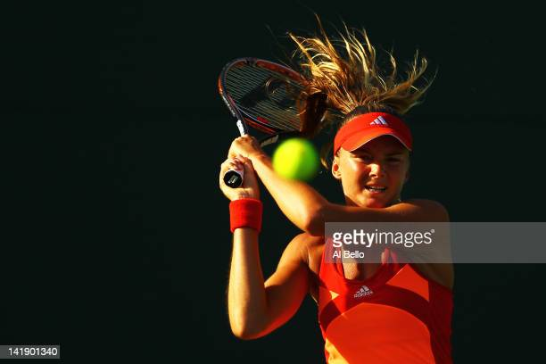 Daniela Hantuchova of Slovakia in action against Ana Ivanovic of Serbia during Day 7 at Crandon Park Tennis Center at the Sony Ericsson Open on March...