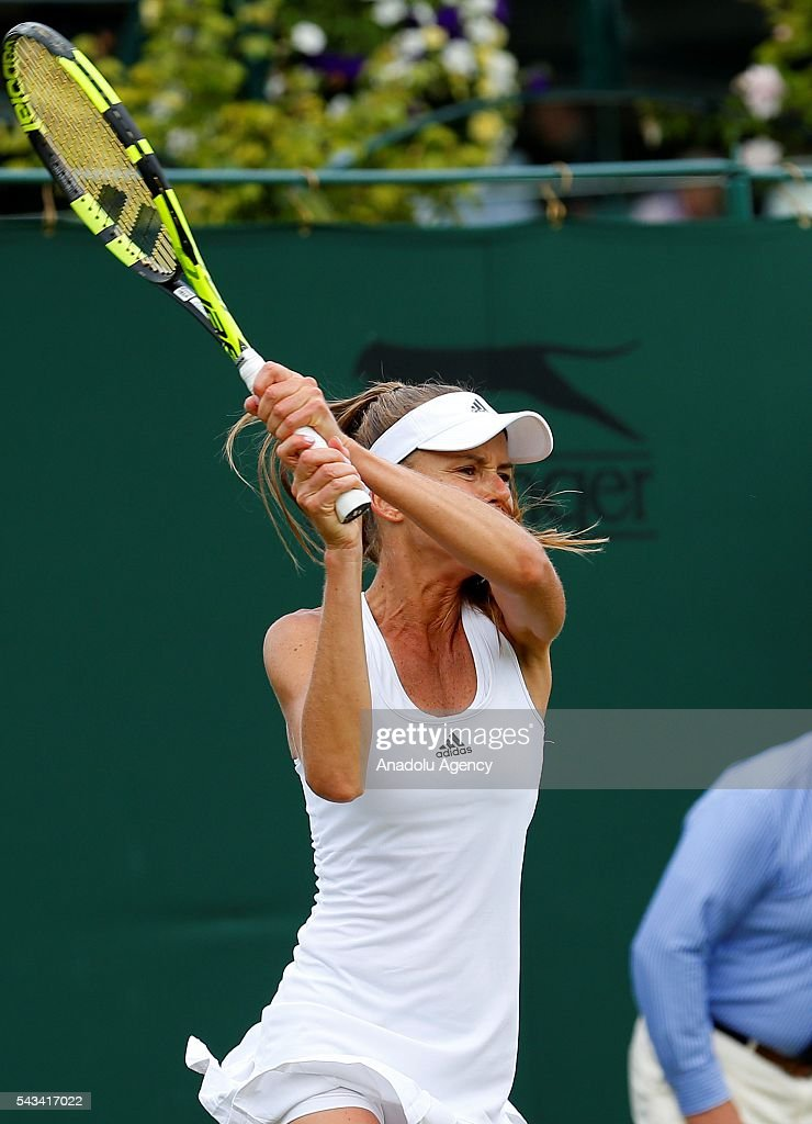 Daniela Hantuchova of Slovakia in action against Christina McHale (not seen) of USA in the Women's Singles on day two of the 2016 Wimbledon Championships at the All England Lawn and Croquet Club in London, United Kingdom on June 28, 2016.