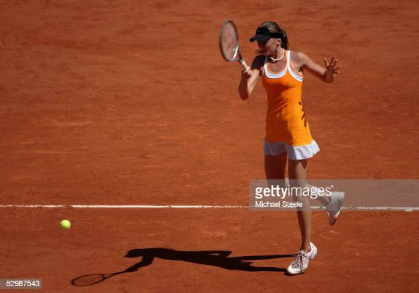 Daniela Hantuchova of Slovakia in action during her third round match against Kim Clijsters of Belgium during the fifth day of the French Open at...