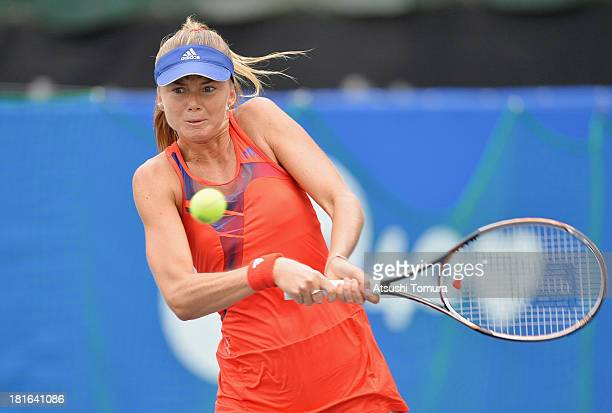 Daniela Hantuchova of Slovakia in action during her women's singles first round match against Flavia Pennetta of Italy during day two of the Toray...