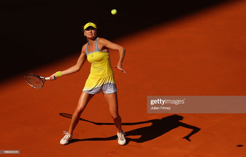 <a gi-track='captionPersonalityLinkClicked' href=/galleries/search?phrase=Daniela+Hantuchova&family=editorial&specificpeople=201969 ng-click='$event.stopPropagation()'>Daniela Hantuchova</a> of Slovakia in action in her match against Sloane Stephens of USA during the Mutua Madrid Open tennis tournament at the Caja Magica on May 4, 2013 in Madrid, Spain.