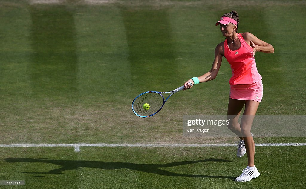 Daniela Hantuchova of Slovakia in action in her quarter final match against Sabine Lisicki of Germany on day five of the Aegon Classic at Edgbaston Priory Club on June 19, 2015 in Birmingham, England.