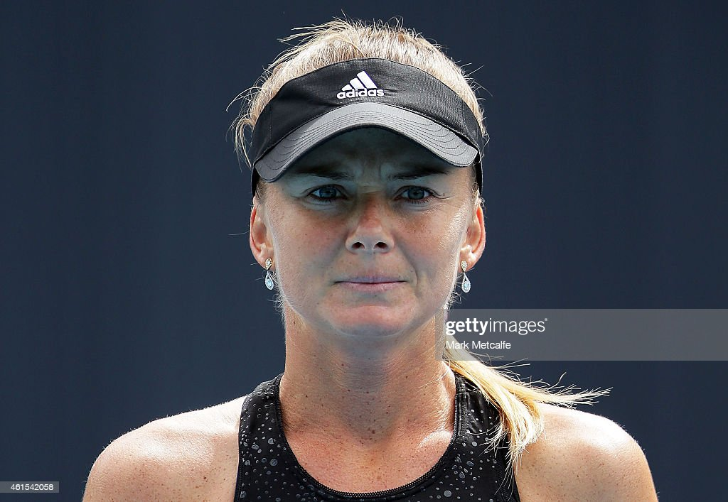 <a gi-track='captionPersonalityLinkClicked' href=/galleries/search?phrase=Daniela+Hantuchova&family=editorial&specificpeople=201969 ng-click='$event.stopPropagation()'>Daniela Hantuchova</a> of Slovakia looks on during her second round match against Zarina Diyas of Kazakhstan during day five of the Hobart International at Domain Tennis Centre on January 15, 2015 in Hobart, Australia.