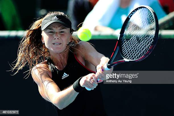 Daniela Hantuchova of Slovakia plays a backhand against Sara Errani of Italy during day one of the 2015 ASB Classic at ASB Tennis Centre on January 5...