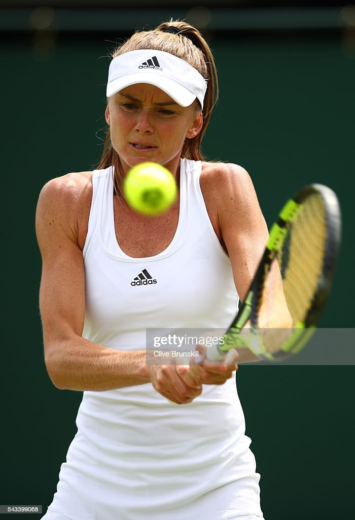 <a gi-track='captionPersonalityLinkClicked' href=/galleries/search?phrase=Daniela+Hantuchova&family=editorial&specificpeople=201969 ng-click='$event.stopPropagation()'>Daniela Hantuchova</a> of Slovakia plays a backhand during the Ladies Singles first round match against Christina McHale of the United States on day two of the Wimbledon Lawn Tennis Championships at the All England Lawn Tennis and Croquet Club on June 28, 2016 in London, England.