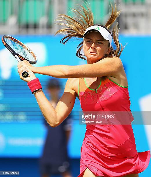 Daniela Hantuchova of Slovakia plays a backhand shot during her match against Alison Riske of the USA during the fifth day of the AEGON Classic at...