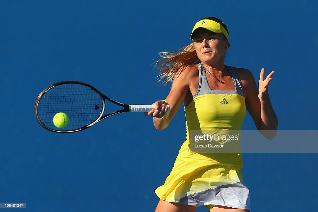 Daniela Hantuchova of Slovakia plays a forehand in her first round match against Yung-Jan Chan of Chinese Taipei during day one of the 2013 Australian Open at Melbourne Park on January 14, 2013 in Melbourne, Australia.