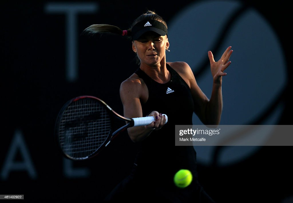 <a gi-track='captionPersonalityLinkClicked' href=/galleries/search?phrase=Daniela+Hantuchova&family=editorial&specificpeople=201969 ng-click='$event.stopPropagation()'>Daniela Hantuchova</a> of Slovakia plays a forehand in her first round match against Richel Hogenkamp of Netherlands during day two of the 2015 Hobart International at Domain Tennis Centre on January 12, 2015 in Hobart, Australia.