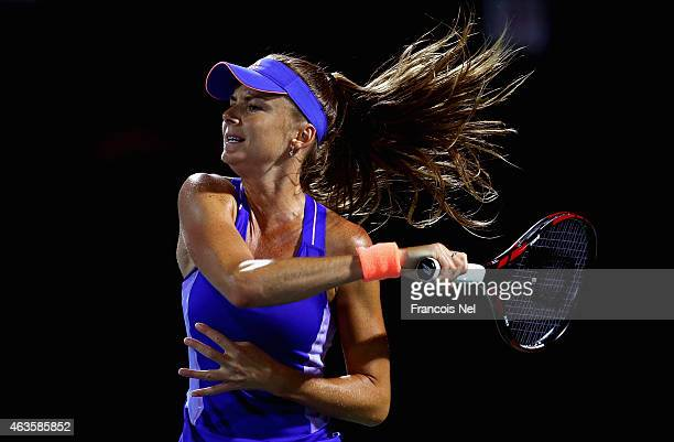 Daniela Hantuchova of Slovakia plays a forehand in her match against Mona Barthel of Germany during day two of the WTA Dubai Duty Free Tennis...