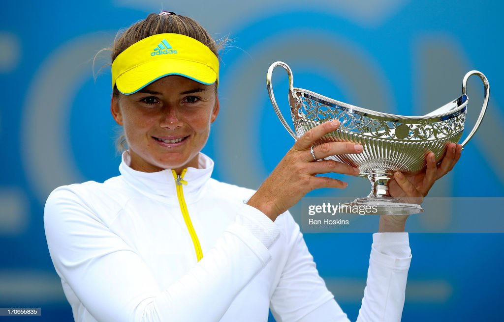 Daniela Hantuchova of Slovakia poses with the Maude Watson Trophy after defeating Donna Vekic of Croatia in the singles final on day eight of the...