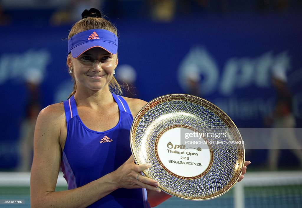Daniela Hantuchova of Slovakia poses with the trophy after beating Ajla Tomljanovic of Croatia in their final round match of the WTA Pattaya Open...