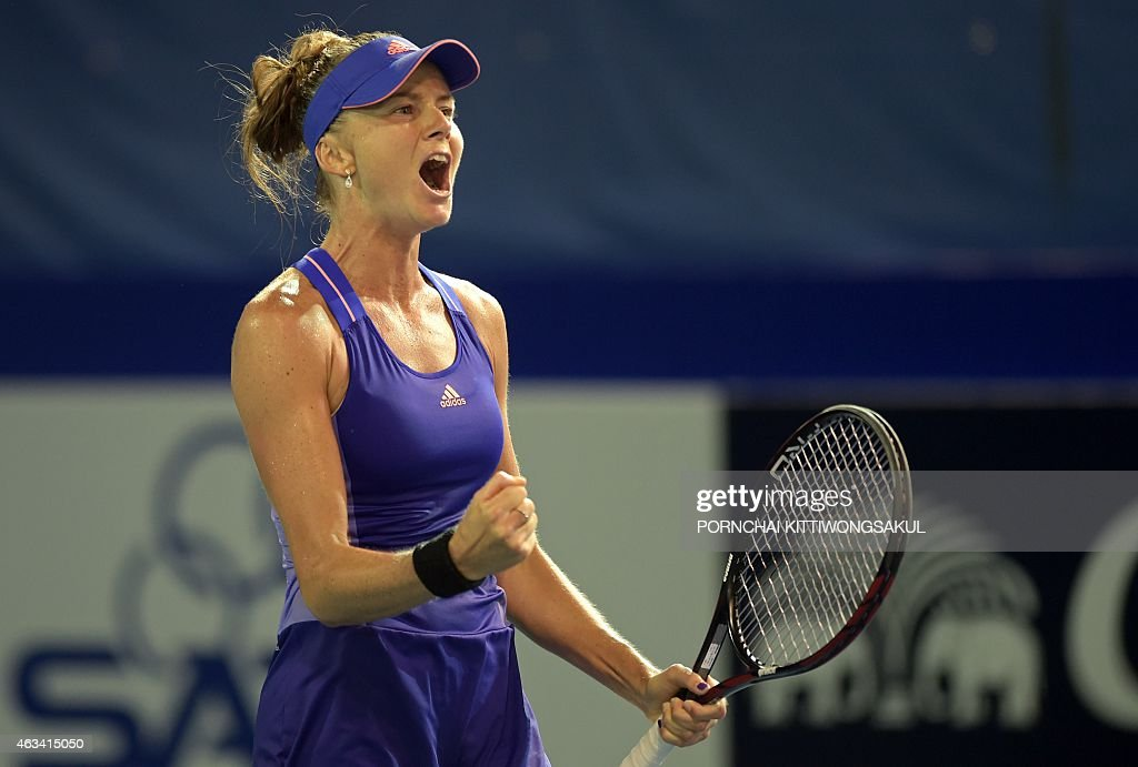 Daniela Hantuchova of Slovakia reacts after a point against Marina Erakovic of New Zealand during their women's singles semifinal match at the WTA...