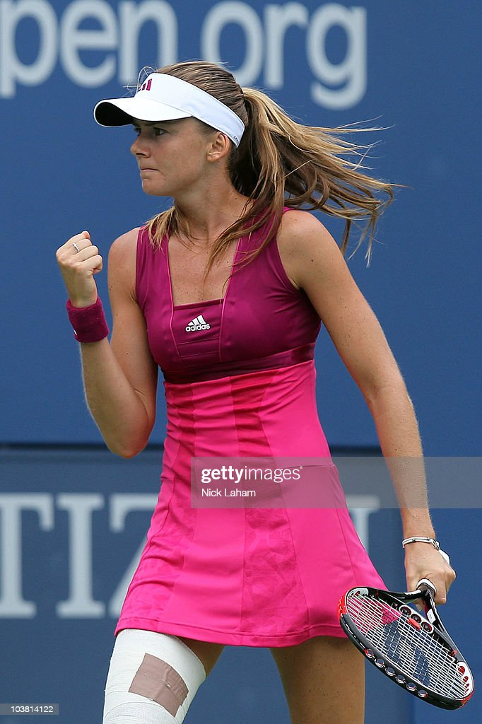 Daniela Hantuchova of Slovakia reacts against Elena Dementieva of Russia during her women's singles match on day five of the 2010 U.S. Open at the USTA Billie Jean King National Tennis Center on September 3, 2010 in the Flushing neighborhood of the Queens borough of New York City.
